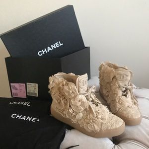 Chanel camellia flower tennis shoes mesh beige